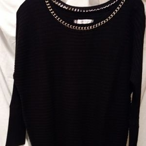 Jennifer Lopez LS Black Sweater with gold